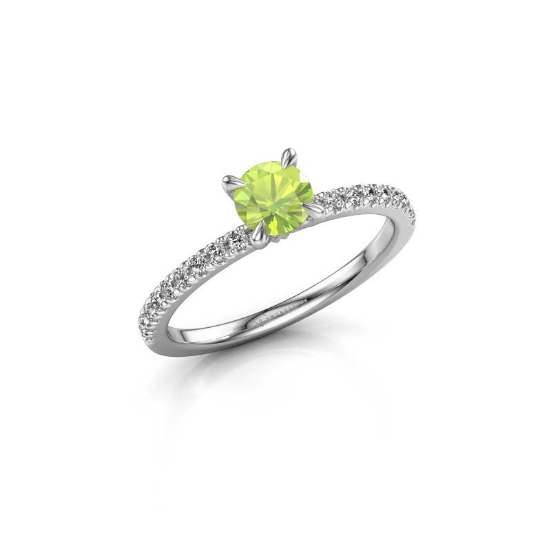 Verlovingsring Crystal rnd 2 950 platina peridoot 5 mm