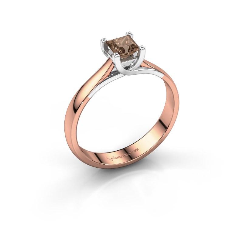 Bague de fiançailles Mia Square 585 or rose diamant brun 0.40 crt