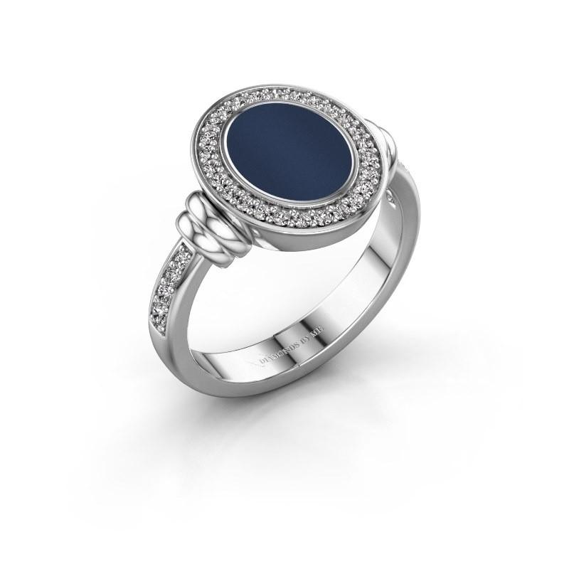 Zegelring Frido F 950 platina donker blauw lagensteen 10x8 mm
