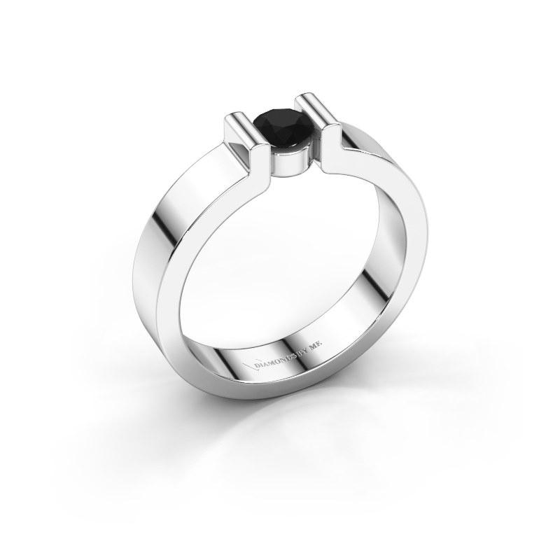 Verlovingsring Isabel 1 585 witgoud zwarte diamant 0.30 crt
