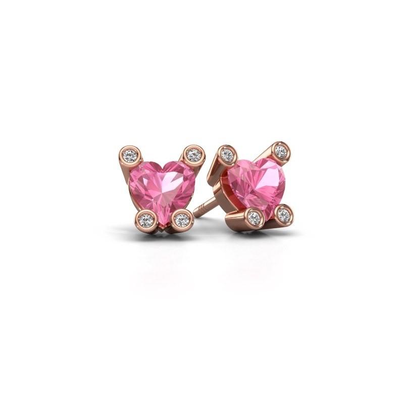 Oorstekers Cornelia Heart 375 rosé goud roze saffier 6 mm