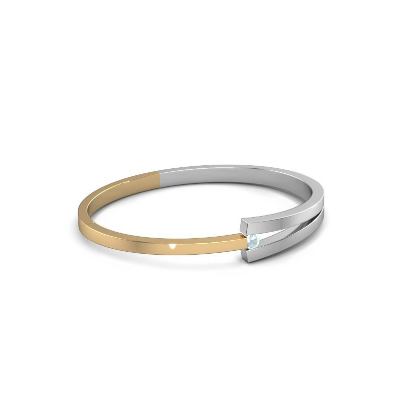 Slavenarmband Sofia 585 goud aquamarijn 4 mm