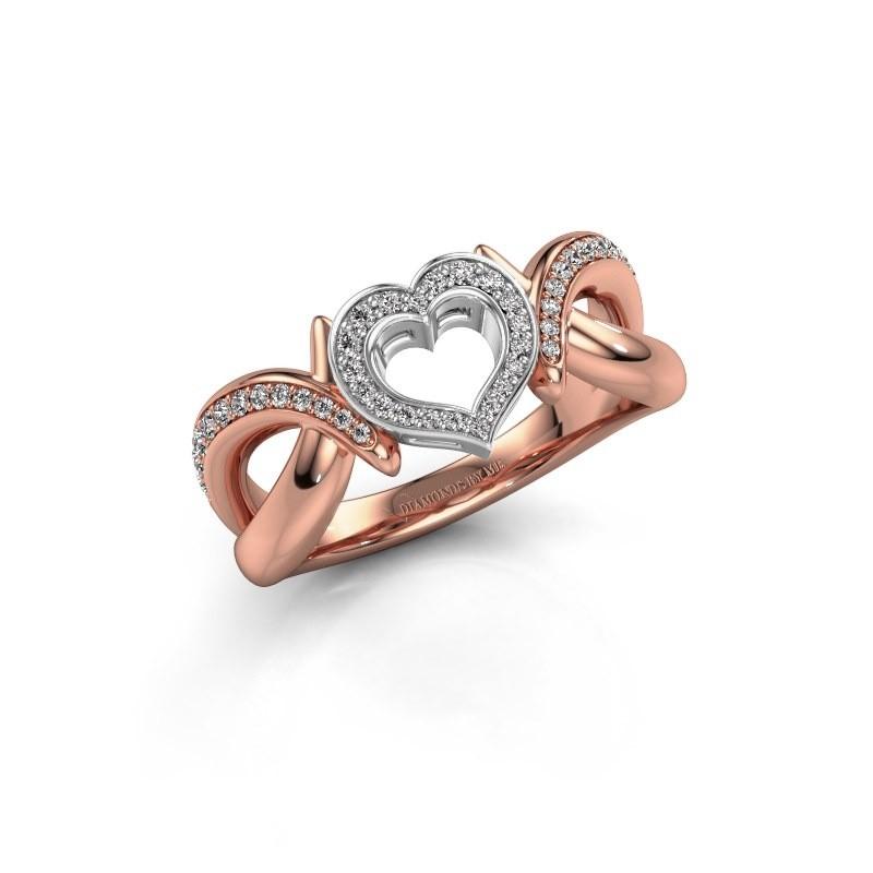 Ring Earlie 2 585 rosé goud zirkonia 1.1 mm