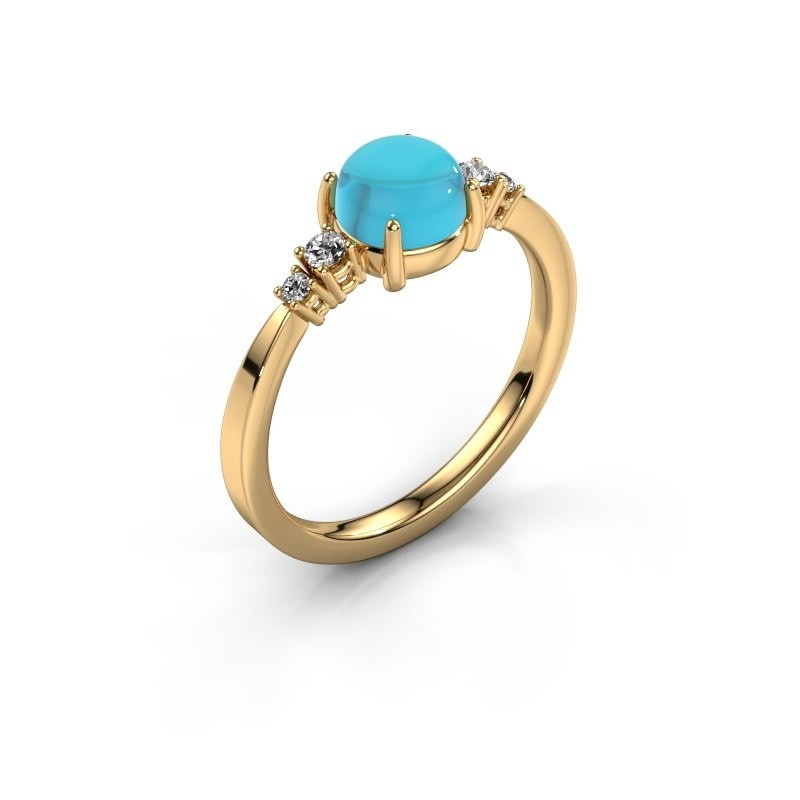 Ring Regine 585 goud blauw topaas 6 mm