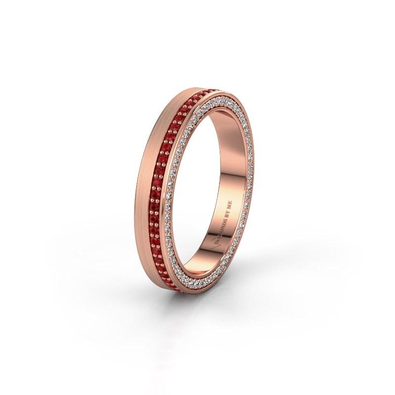 Wedding ring WH2214L15BM 585 rose gold ruby 1 mm ±5x2 mm