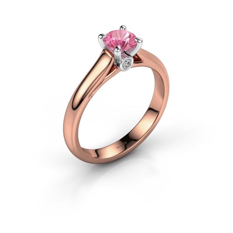 Verlovingsring Valorie 1 585 rosé goud roze saffier 5 mm