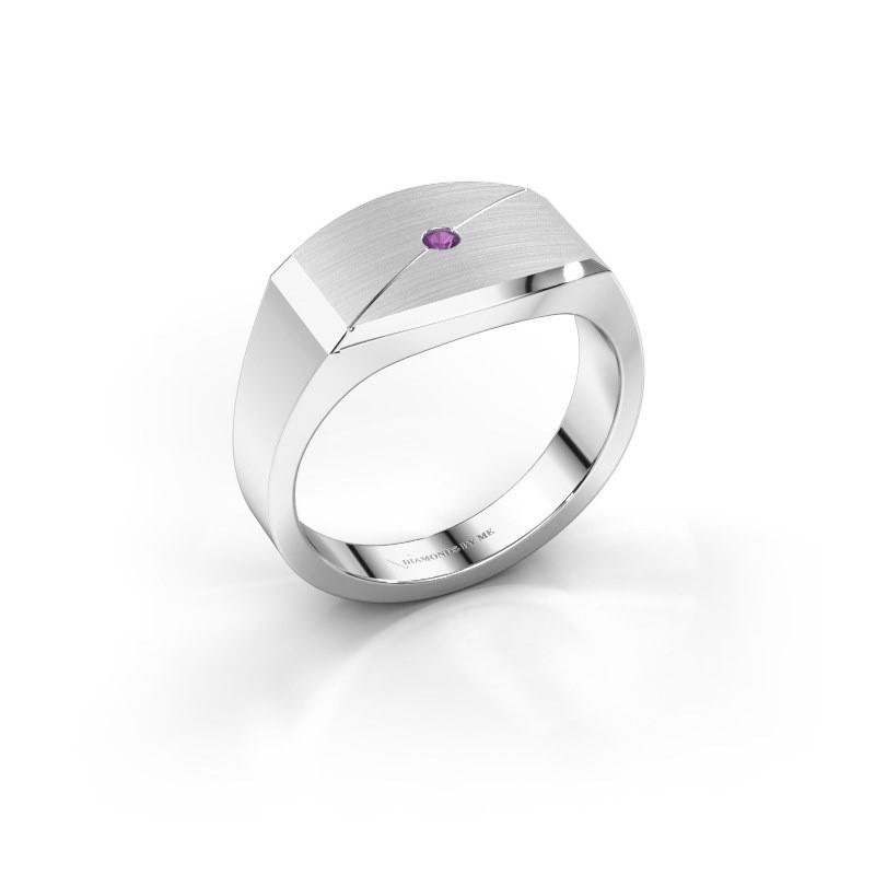 Heren ring Joe 5 925 zilver amethist 2 mm