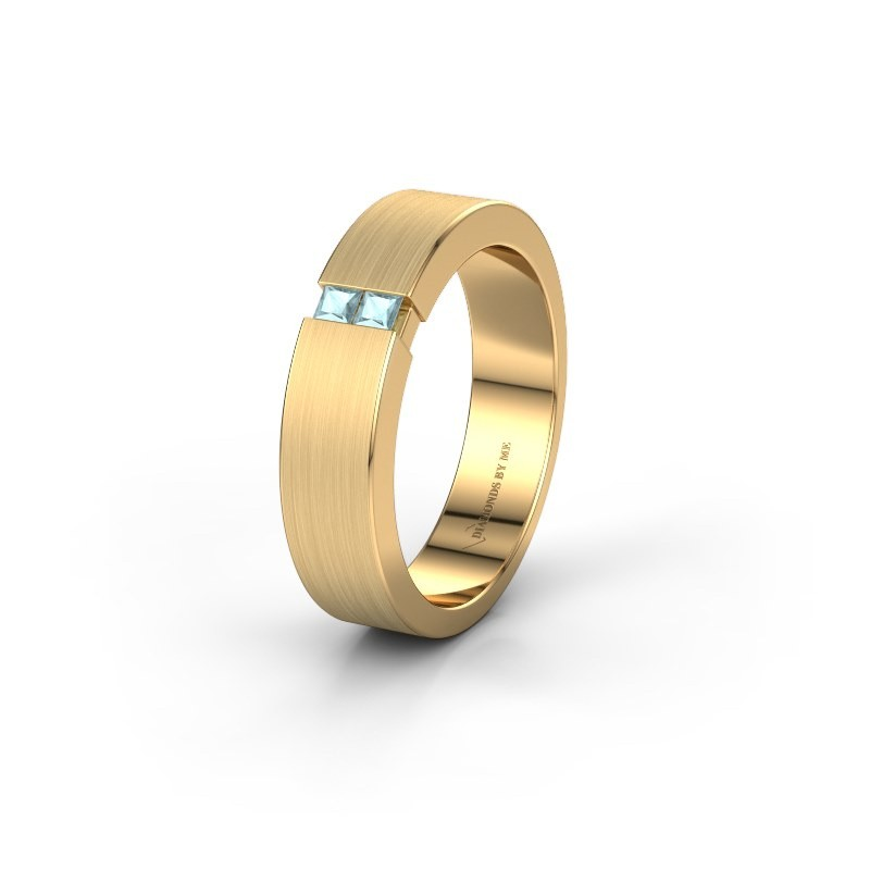 Trouwring WH2136L15E 375 goud aquamarijn ±5x2.6 mm