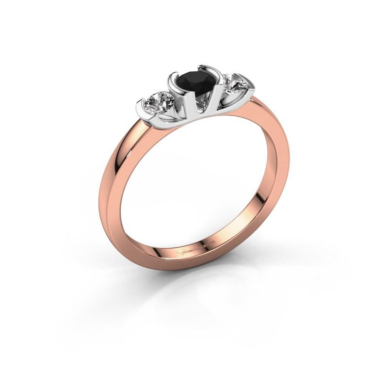 Ring Lucia 585 rose gold black diamond 0.44 crt