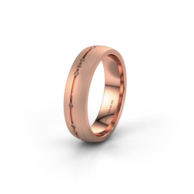 Trouwring WH0166L25A 375 rosé goud bruine diamant ±5x1.7 mm