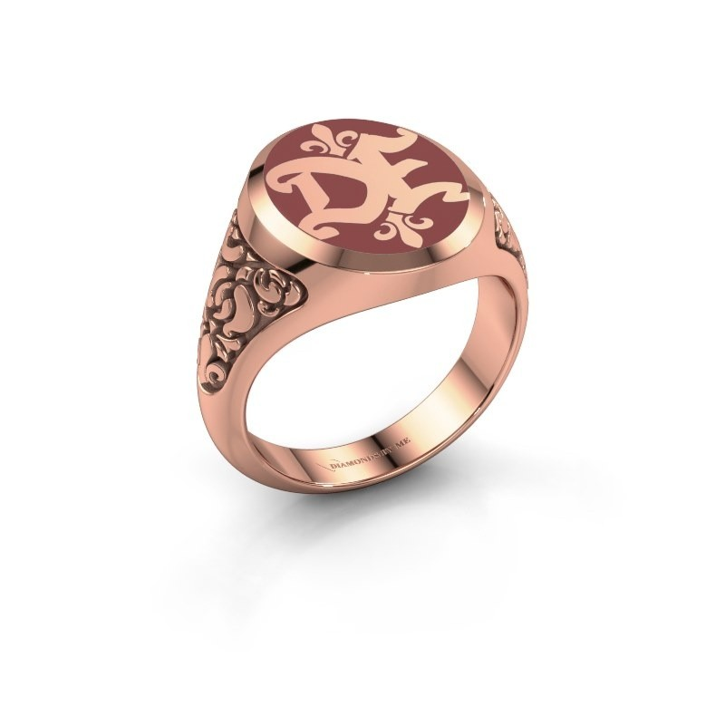 Monogram ring Brian Emaille 375 rosé goud rode emaille