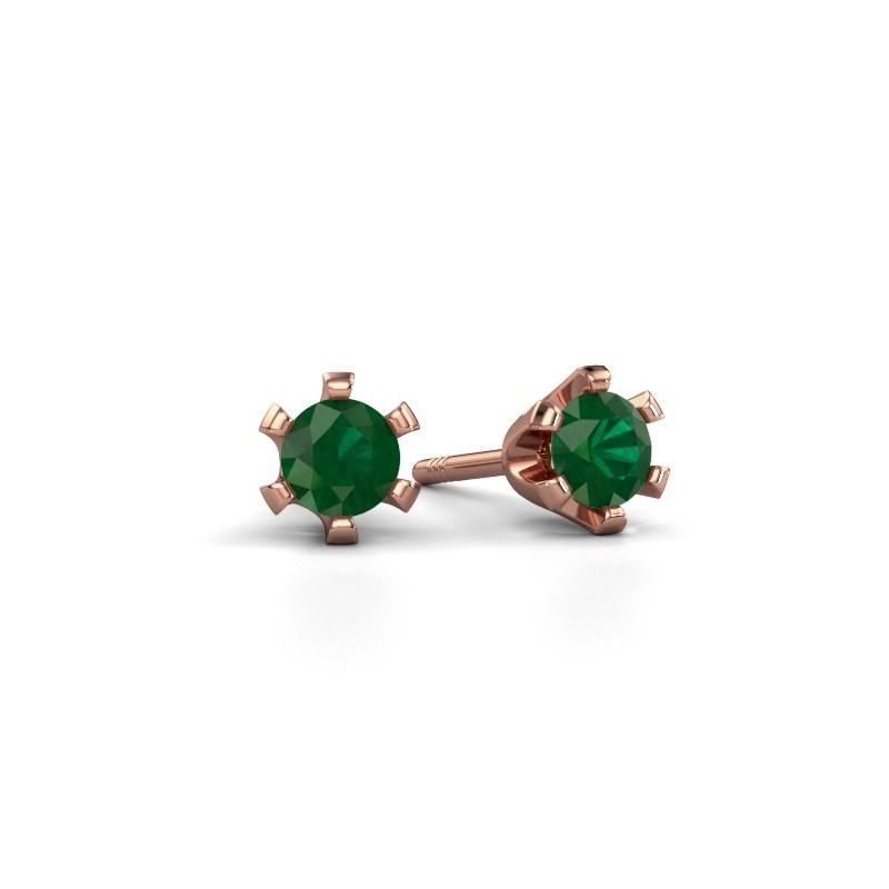 Stud earrings Shana 375 rose gold emerald 4 mm