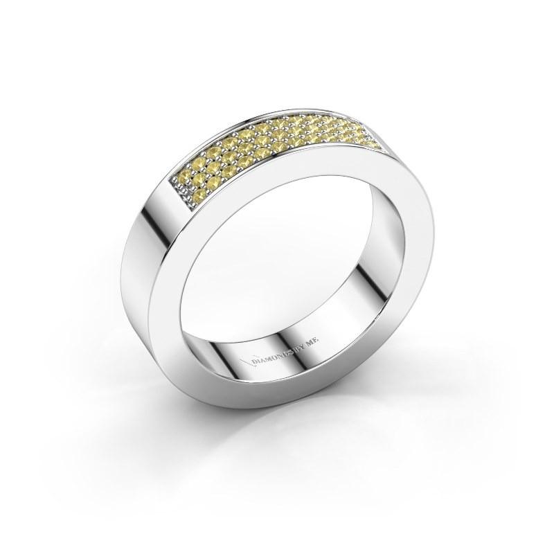 Ring Lindsey 1 950 platina gele saffier 1.1 mm