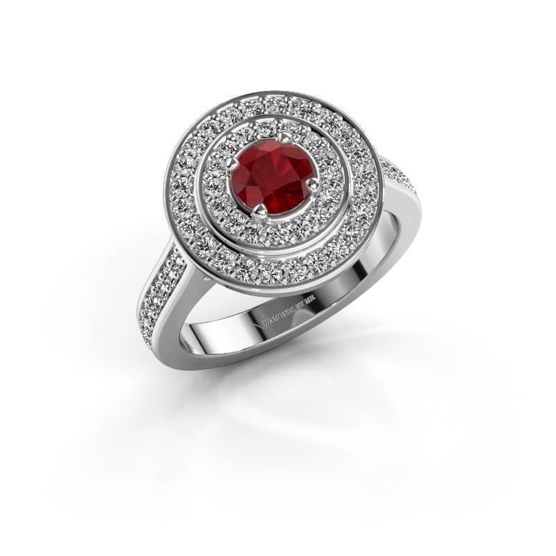 Ring Alecia 2 585 witgoud robijn 5 mm