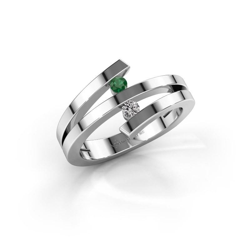 Ring Synthia 950 platina smaragd 2.5 mm