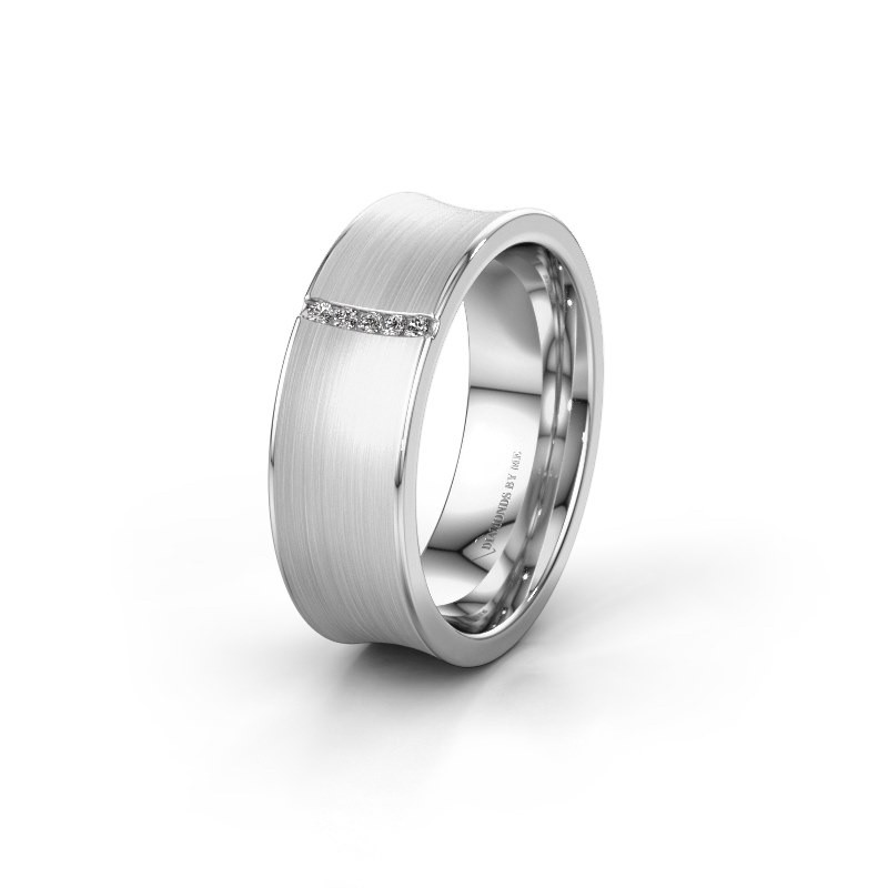 Trouwring WH2021B 585 witgoud diamant ±7x2 mm
