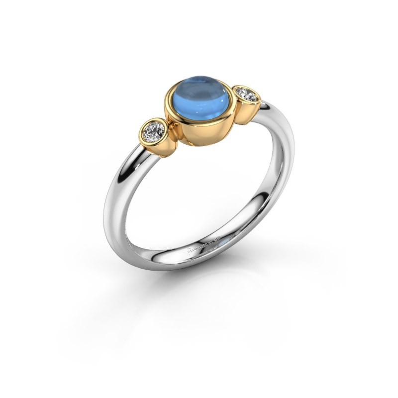 Ring Muriel 585 witgoud blauw topaas 5 mm