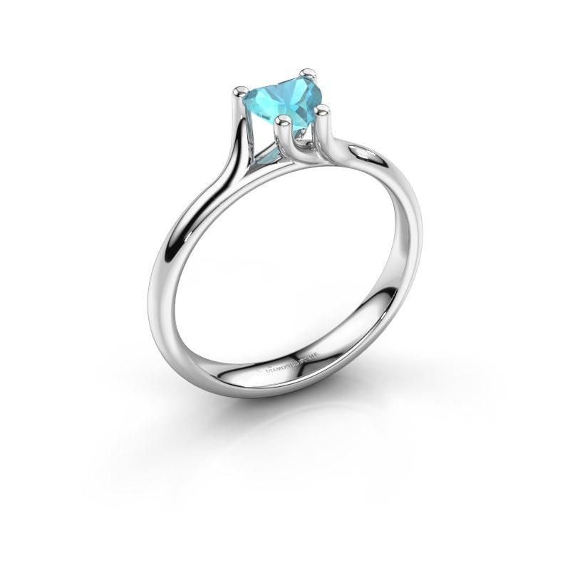 Engagement ring Dewi Heart 950 platinum blue topaz 5 mm