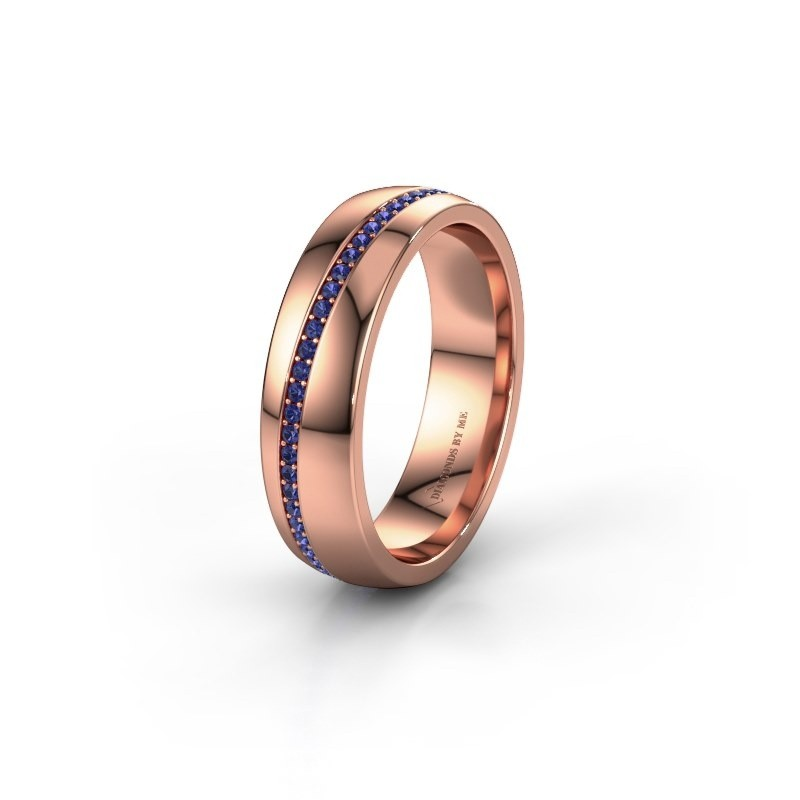 Wedding ring WH0109L25A 375 rose gold sapphire ±0.20x0.07 in