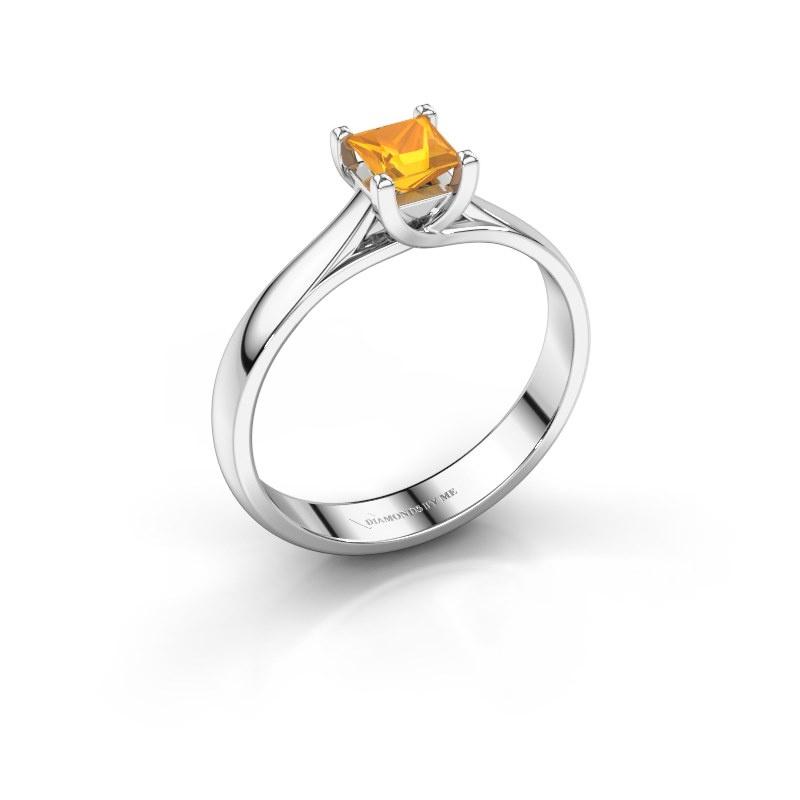 Verlobungsring Mia Square 585 Weißgold Citrin 4 mm