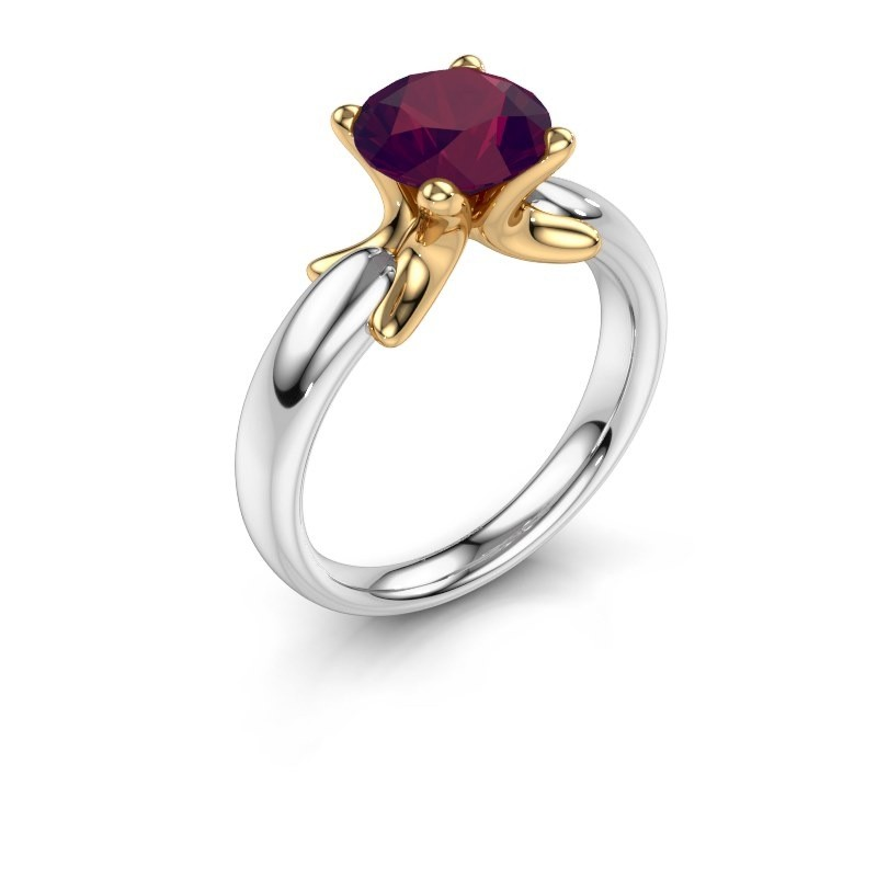 Bague Jodie 585 or blanc rhodolite 8 mm