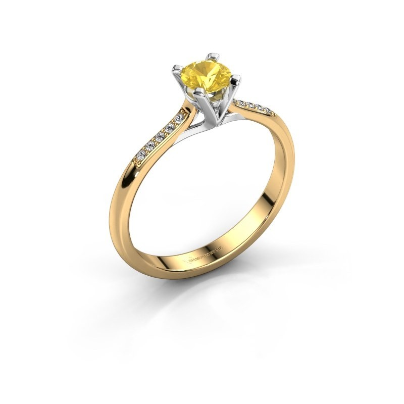 Aanzoeksring Isa 2 375 goud gele saffier 4.2 mm