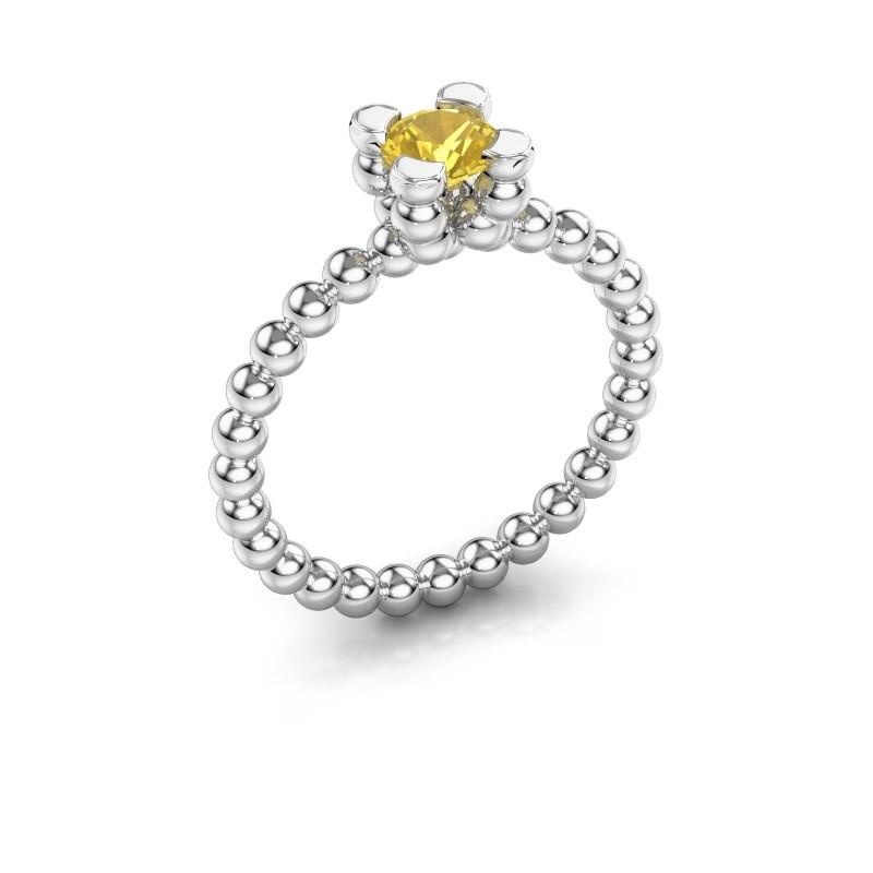 Ring Aurore 925 zilver gele saffier 5 mm