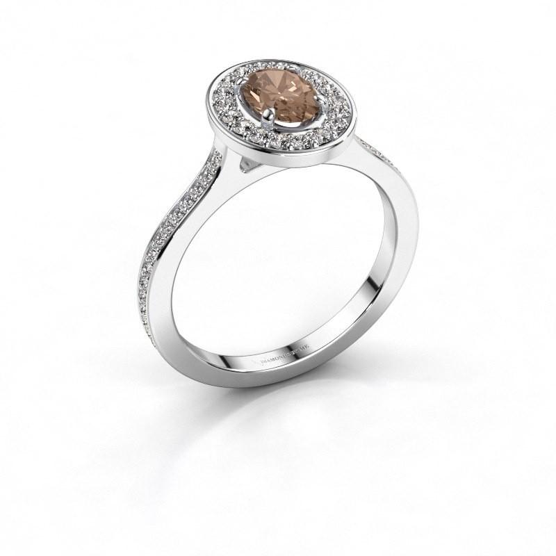 Ring Madelon 2 950 platina bruine diamant 1.16 crt