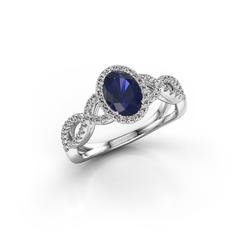 Engagement ring Dionne ovl 585 white gold sapphire 7x5 mm