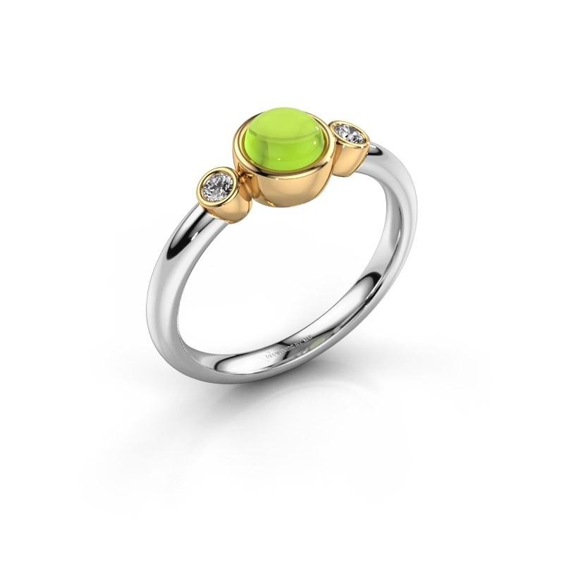 Ring Muriel 585 witgoud peridoot 5 mm