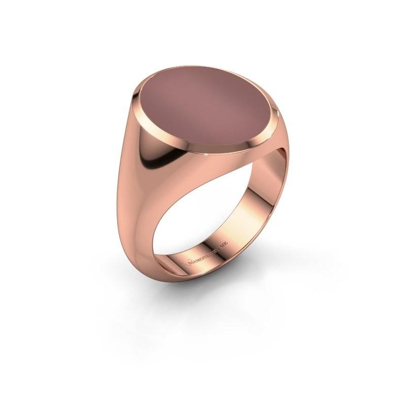 Signet ring Herman 6 375 rose gold carnelian 16x13 mm