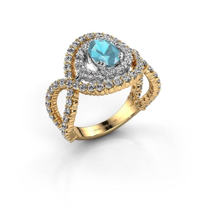 Ring Chau 585 goud blauw topaas 7x5 mm