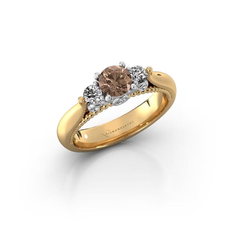 Verlovingsring Tiffani 585 goud bruine diamant 0.74 crt