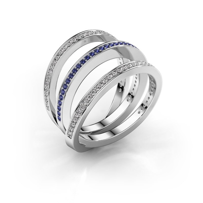 Ring Jaqueline 950 platina saffier 1 mm