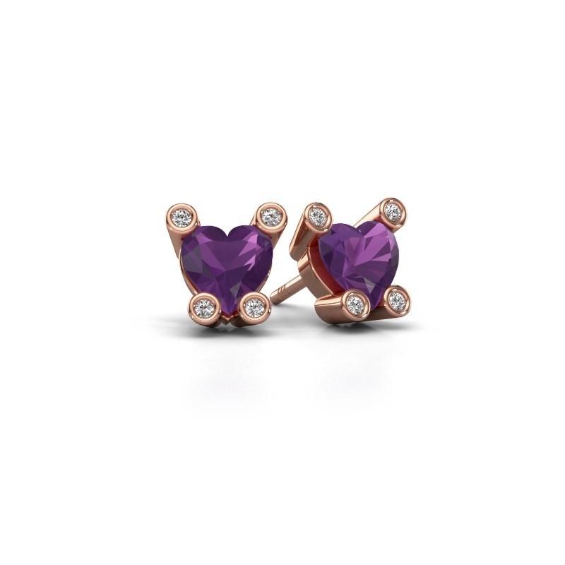 Oorstekers Cornelia Heart 375 rosé goud amethist 6 mm