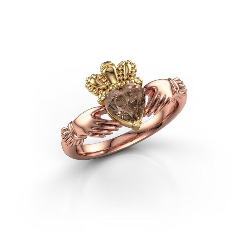 Ring Claddagh 2 585 rosé goud bruine diamant 0.80 crt