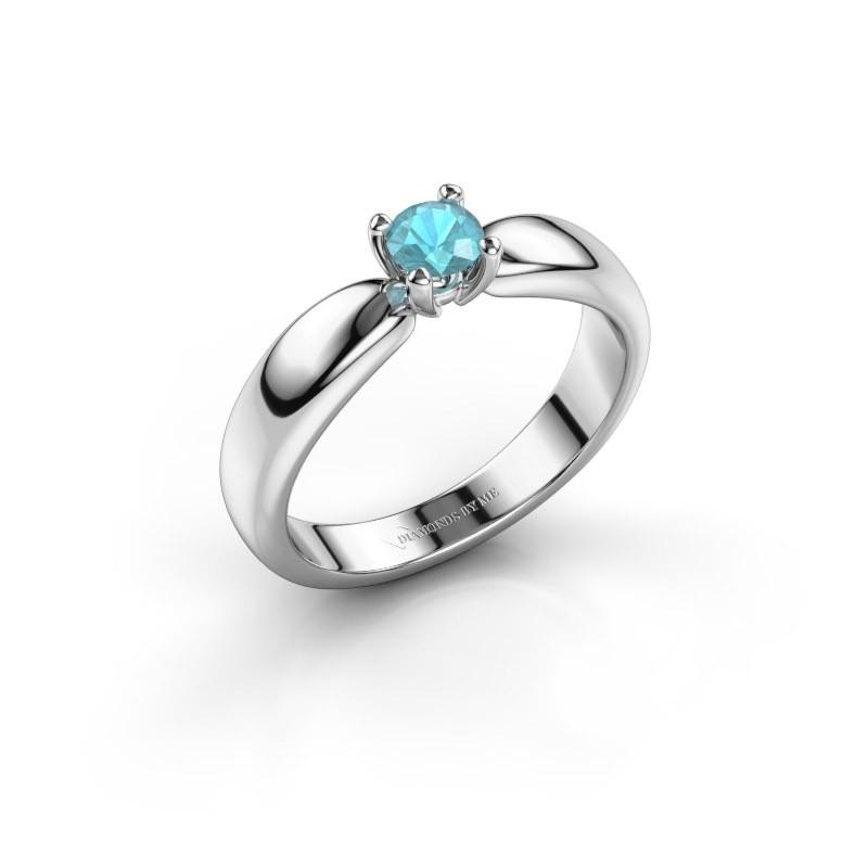 Promise ring Katrijn 585 witgoud blauw topaas 4.2 mm
