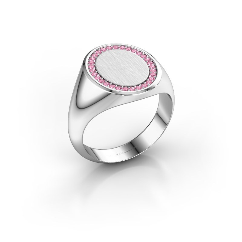 Men's ring Floris Oval 4 925 silver pink sapphire 1.2 mm