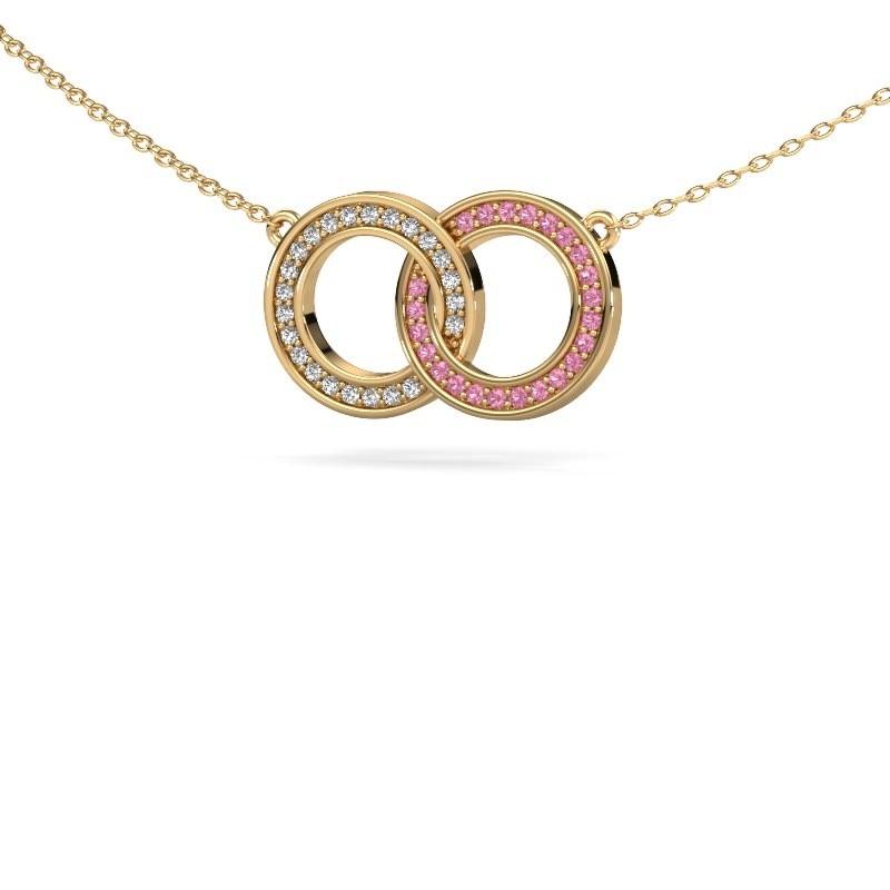 Ketting Circles 1 375 goud roze saffier 1 mm