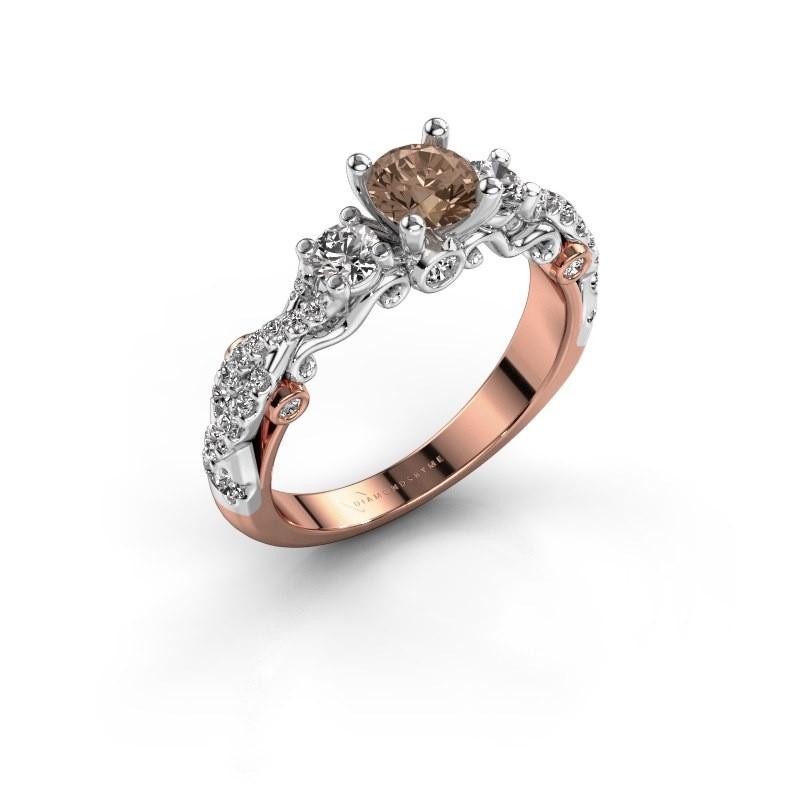 Verlovingsring Kourtney 585 rosé goud bruine diamant 1.056 crt