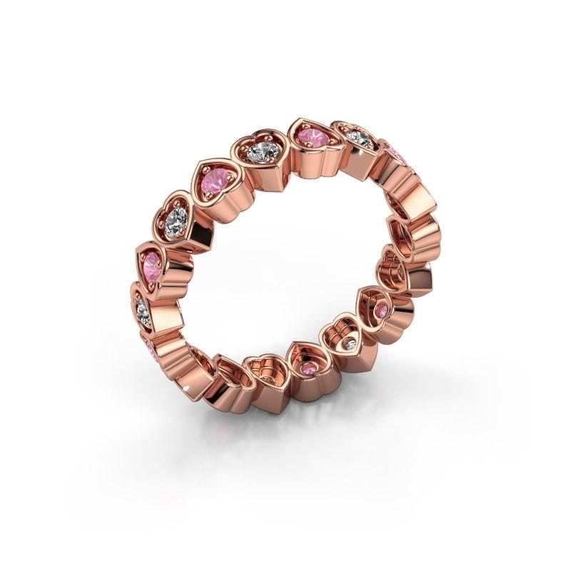 Stackable ring Pleun 375 rose gold pink sapphire 2 mm