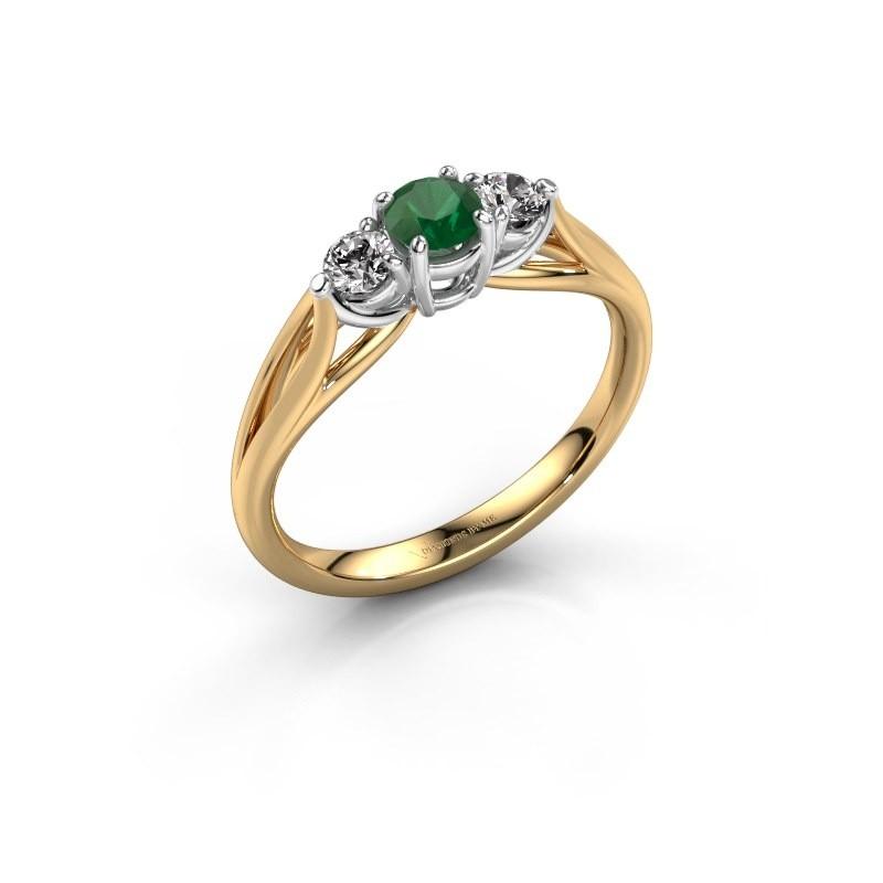 Verlovingsring Amie RND 585 goud smaragd 4.2 mm