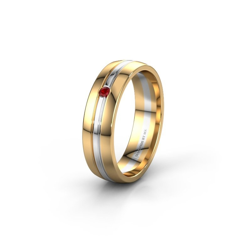 Wedding ring WH0420L25X 585 gold ruby ±5x1.5 mm