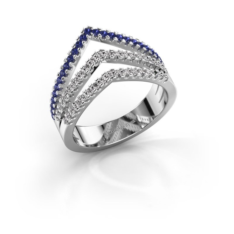Ring Kendra 585 witgoud saffier 1.2 mm