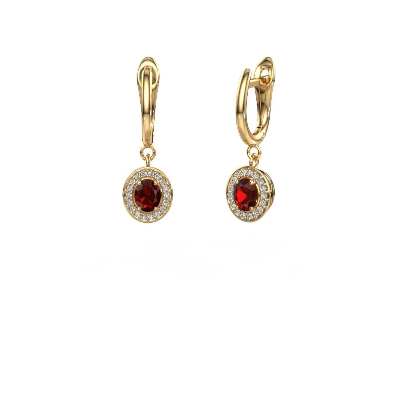Drop earrings Nakita 375 gold garnet 5x4 mm