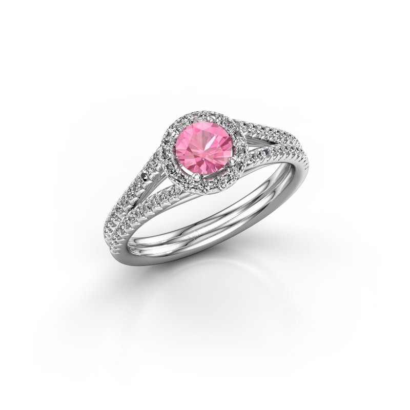 Engagement ring Verla 2 585 white gold pink sapphire 4.7 mm