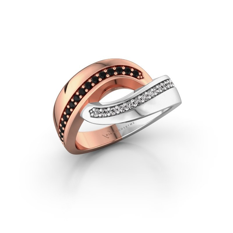 Ring Sharita 585 rosé goud zwarte diamant 0.264 crt