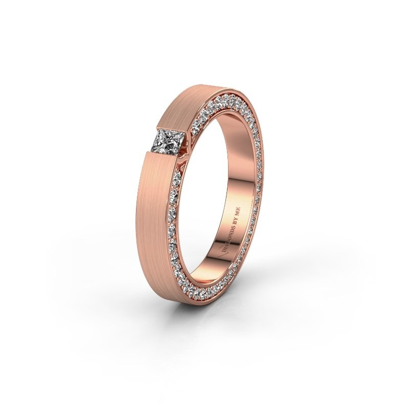 Wedding ring WH2140L14B 375 rose gold zirconia ±3,5x2 mm