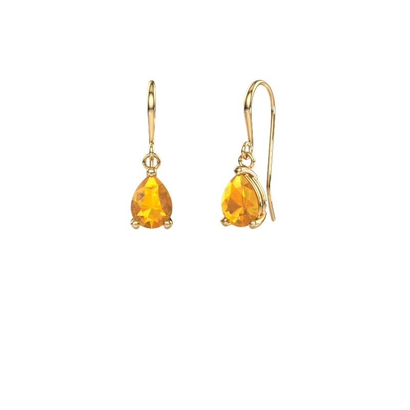 Drop earrings Laurie 1 585 gold citrin 8x6 mm