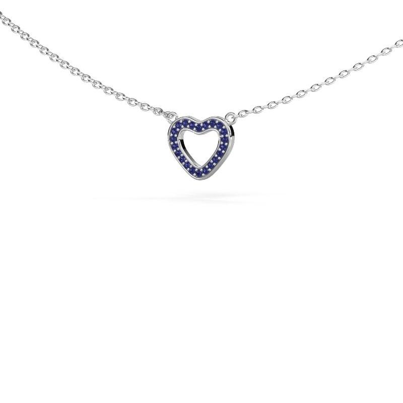 Hanger Heart 4 925 zilver saffier 0.8 mm